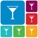 Tecken för coctailexponeringsglas med den martini vodkasymbolen Royaltyfri Bild
