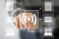 Tecken för dator för signal för anslutning för affärsknappWifi rengöringsduk Arkivfoton