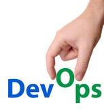 Tecken för DevOps utvecklings- & operationbegrepp royaltyfri fotografi