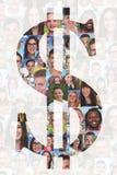 Tecken för dollar för affärspengarbegrepp med grupp människor Royaltyfri Bild