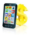 Tecken för dollar för celltelefon och guld Royaltyfri Foto
