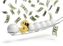 Tecken för dollar för Lottobollguld Arkivfoton