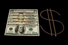 tecken för dollarguldpengar Arkivbild