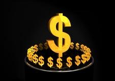 tecken för dollarguldshiney Arkivbild