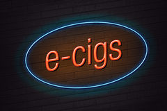 tecken för E-cigarett begreppsneon stock illustrationer