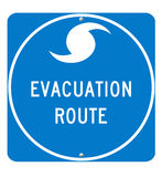 tecken för evakueringsorkanroute Arkivbilder