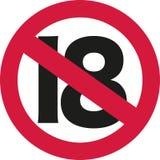 tecken för 18 förbud - 19th födelsedag Fotografering för Bildbyråer