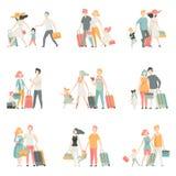 Tecken för för för för familjloppuppsättning som, fader, moder och ungar tillsammans reser, lycklig familjvektorillustration royaltyfri illustrationer