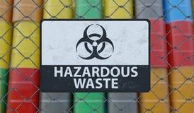 Tecken för farlig avfalls på staketet för chain sammanlänkning Olje- trummor i bakgrund framförd illustration 3d vektor illustrationer