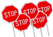 Tecken för fem stopp mot vit bakgrund Royaltyfri Bild