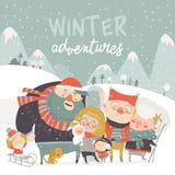 Tecken för folk för vintersäsongbakgrund Utomhus- aktiviteter för vinter Folket har gyckel vektor illustrationer