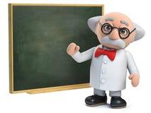 tecken för forskare som 3d undervisar på en svart tavla royaltyfri illustrationer
