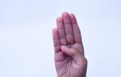 Tecken för fyra finger, handteckenbegrepp Arkivfoto