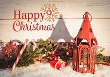 Tecken för glad jul mot julgarnering Royaltyfri Foto