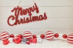 Tecken för glad jul som hälsningkort Royaltyfri Fotografi