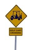 Tecken för golfvagn som korsning isoleras på vit Arkivfoton