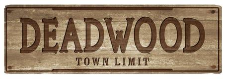 Tecken för gräns för DeadwoodSouth Dakota stad royaltyfria foton