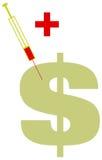 tecken för grön injektion för dollar sjukt Royaltyfri Bild