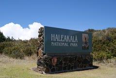 Tecken för Haleakala nationalparkHawaii ingång royaltyfri foto