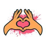 Tecken för handdanandehjärta Hjärtaformhand card min portfölj till valentinvälkomnandet Arkivfoto
