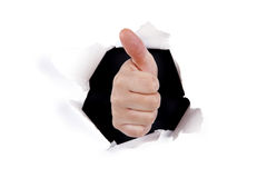 tecken för handhålok till och med väggen arkivfoton