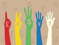 tecken för handpengar Arkivfoton