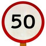 tecken för 50 hastighetsbegränsning Royaltyfri Bild