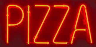 tecken för hdrneonpizza Arkivfoto