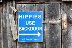 Tecken för hippiebruksbakdörr Royaltyfria Bilder