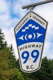 Tecken för huvudväg 99 Arkivfoto