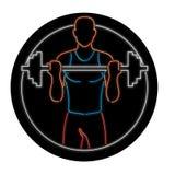 Tecken för idrottsman nenLifting Barbell Oval neon royaltyfri illustrationer