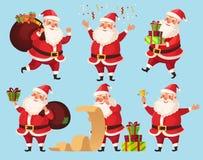Tecken för juljultomtentecknad film Roliga Santa Claus med Xmas-gåvor, illustration för vektor för tecken för vinterferie stock illustrationer