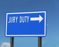 Tecken för juryarbetsuppgift Arkivbilder