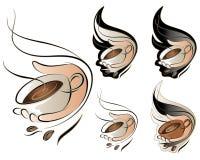 tecken för kaffeset Arkivfoton