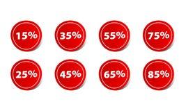 Tecken för klistermärke för prisrabattprocentsats rött Royaltyfri Fotografi