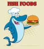 Tecken för kockBlue Shark Cartoon maskot som rymmer en stor hamburgare vektor illustrationer