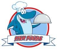 Tecken för kockBlue Shark Cartoon maskot som rymmer ett uppläggningsfat över ett bandbaner stock illustrationer