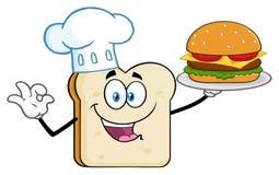 Tecken för kockBread Slice Cartoon maskot som framlägger den perfekta hamburgaren vektor illustrationer