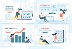 Tecken för kontorsanställda arbetar affärsprojekt stock illustrationer