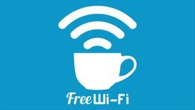 Tecken för kopp för kaffe för wifi för internetkafé fritt