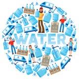 Tecken för kvinna för man för vektor för vattenflaska som levererar aqua för vattendrinkflytande som buteljeras i bakgrund för pl stock illustrationer