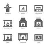 Tecken för lägenhet för vektor för spissymboler som fastställt isoleras på vit bakgrund Ugnspis, biofireplaces, elkraft, trä royaltyfri illustrationer