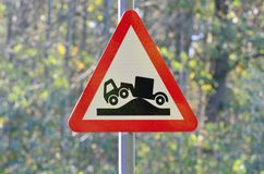 Tecken för lastbilknölvarning Fotografering för Bildbyråer