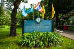 Tecken för Lumphini matdomstol, Bangkok Arkivbild