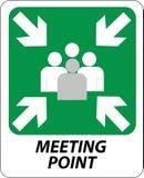 tecken för mötepunkt Arkivfoto