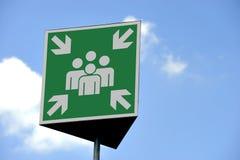 tecken för mötepunkt Arkivbild