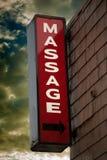 Tecken för massagemottagningsrum Arkivbilder