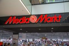 Tecken för massmediaMarkt lager Arkivfoto