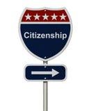 Tecken för medborgarskap hitåt arkivbild