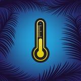 Tecken för Meteo diagnostiskt teknologitermometer vektor Guld- ico royaltyfri illustrationer